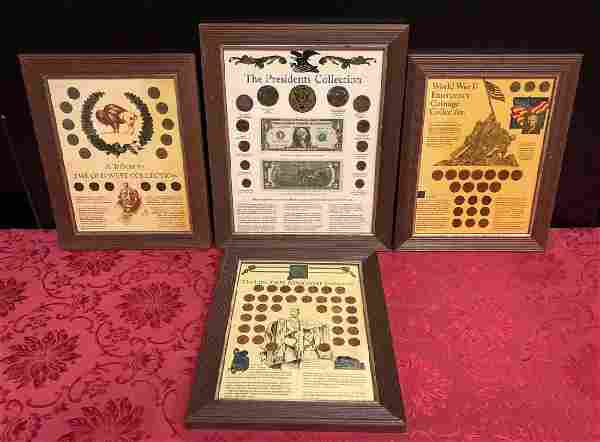 Lot of 4 Framed Historical Coin & Currency Items
