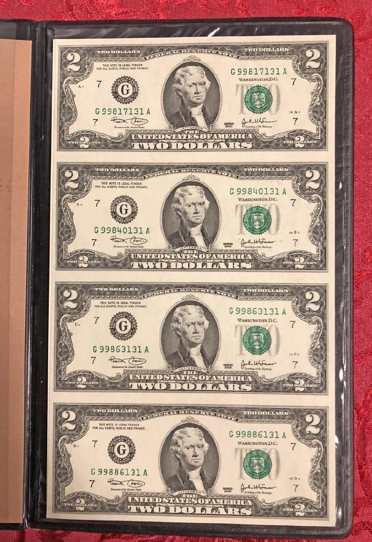 2003 $2 FRN Uncut Sheet of 4 in Folio - 2