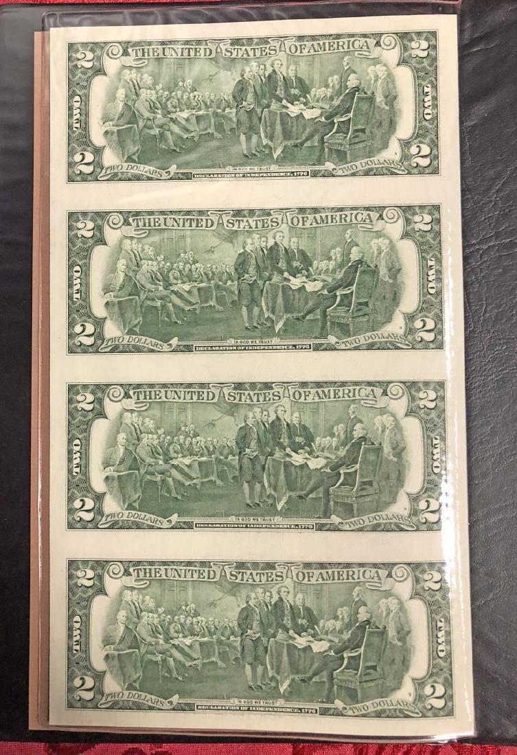 2003 $2 FRN Uncut Sheet of 4 in Folio - 3