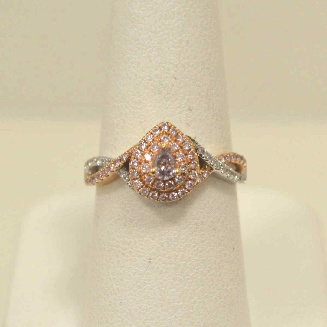 18kt two tone pink diamond fashion ring