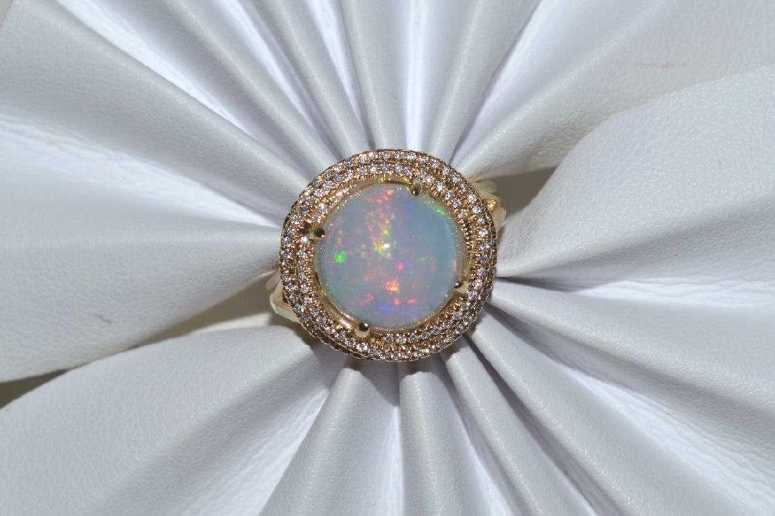 14kt yellow gold opal and diamond ring - 5