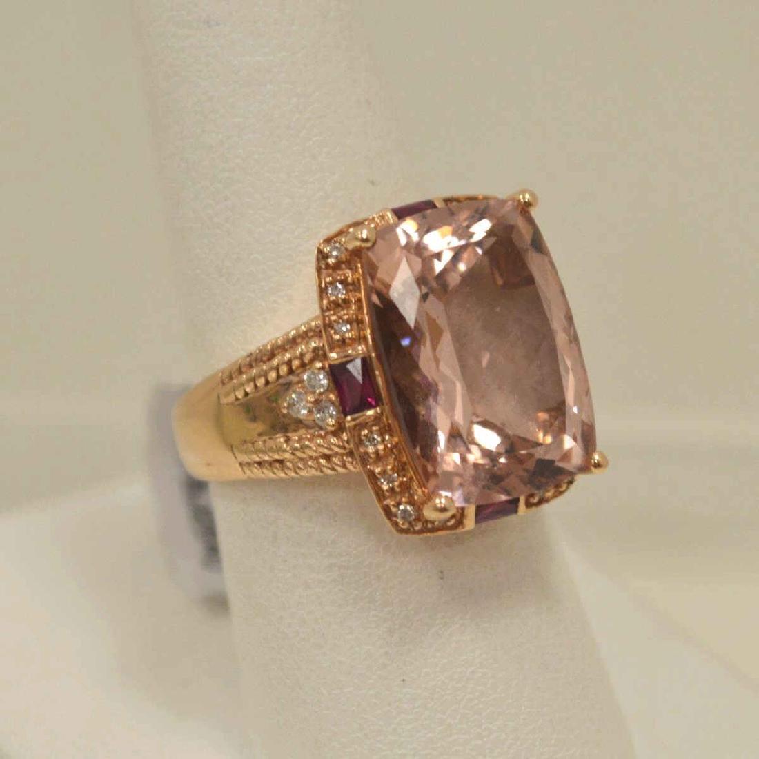14kt rose gold morganite fashion ring - 2