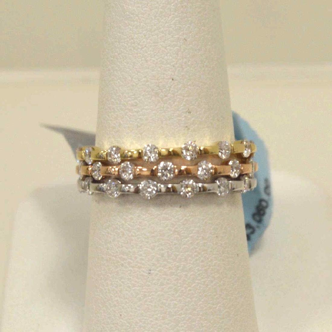 14kt tri-color diamond fashion bands