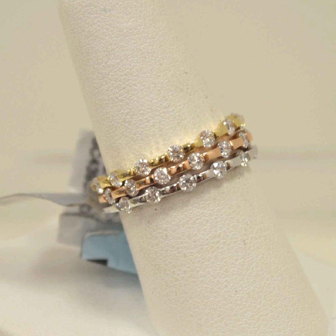 14kt tri-color diamond fashion bands - 2