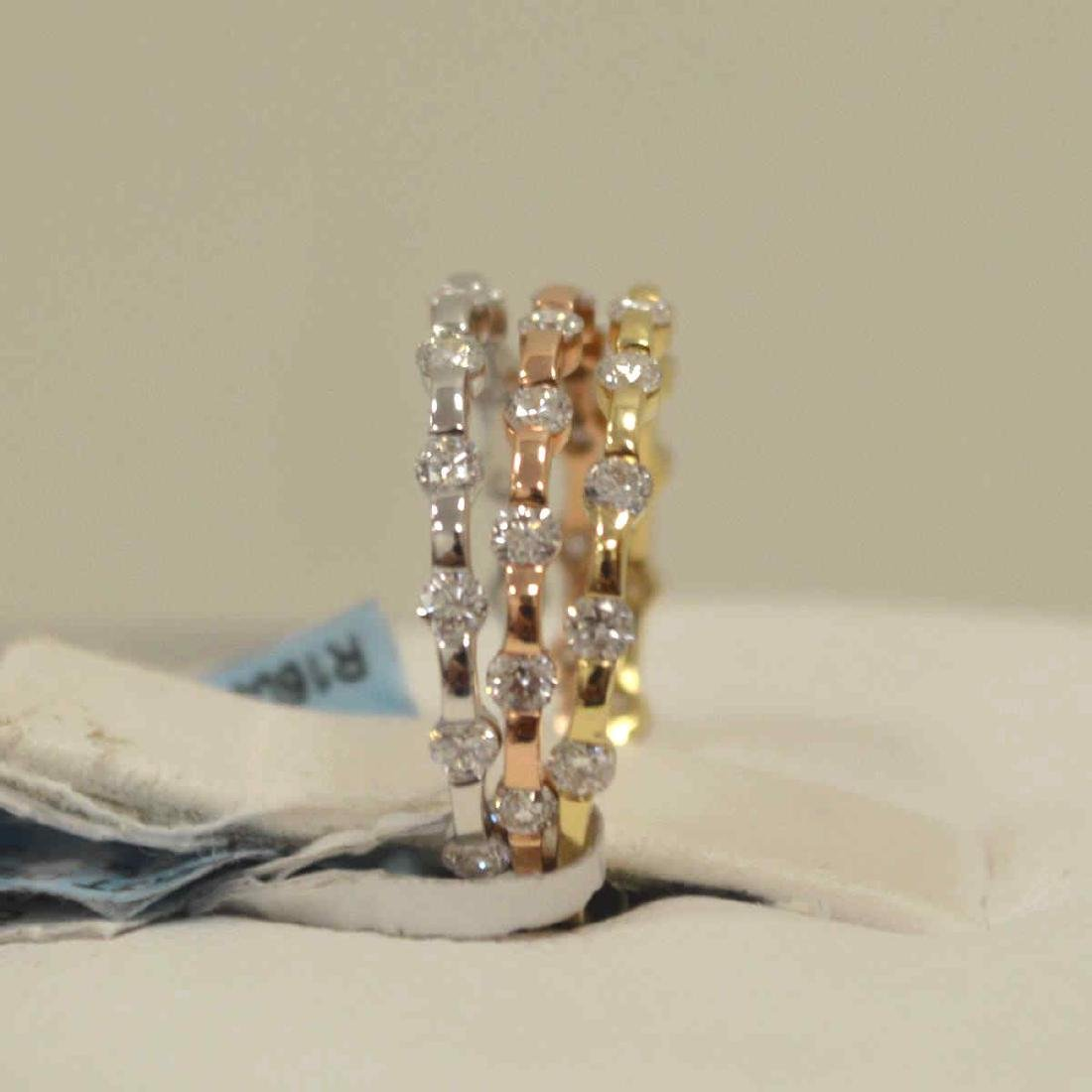 14kt tri-color diamond fashion bands - 4