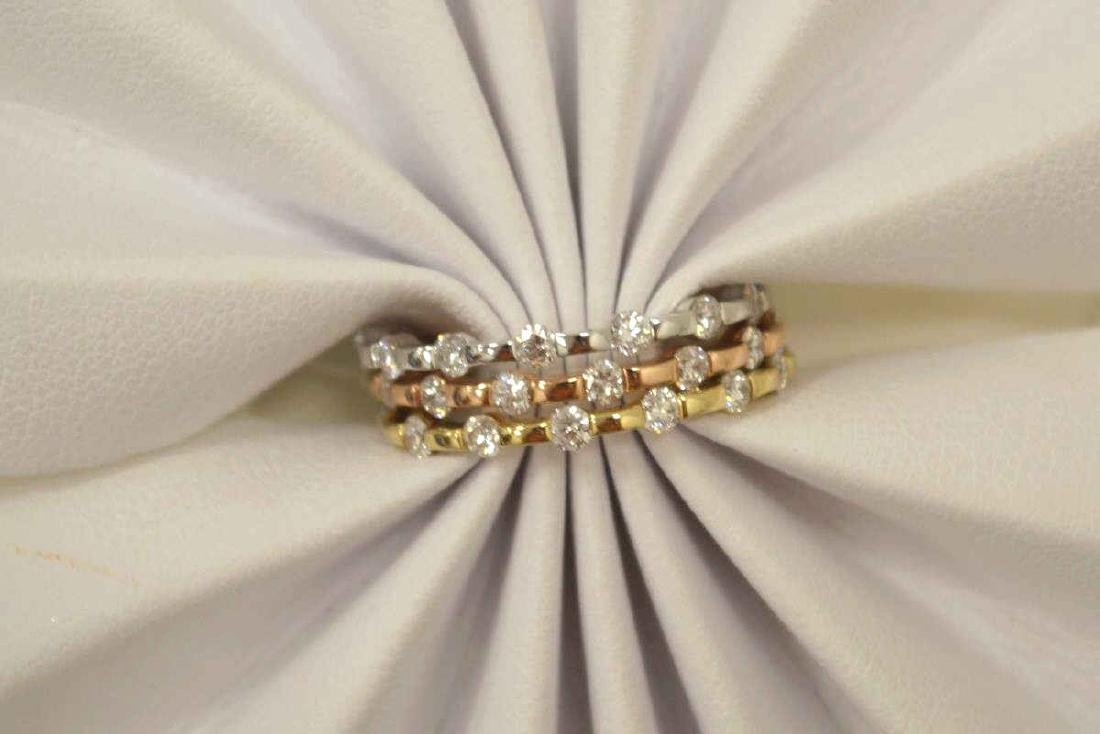 14kt tri-color diamond fashion bands - 5