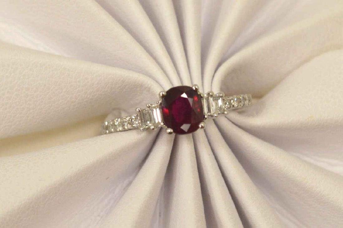 18kt white gold ruby and diamond ring - 5