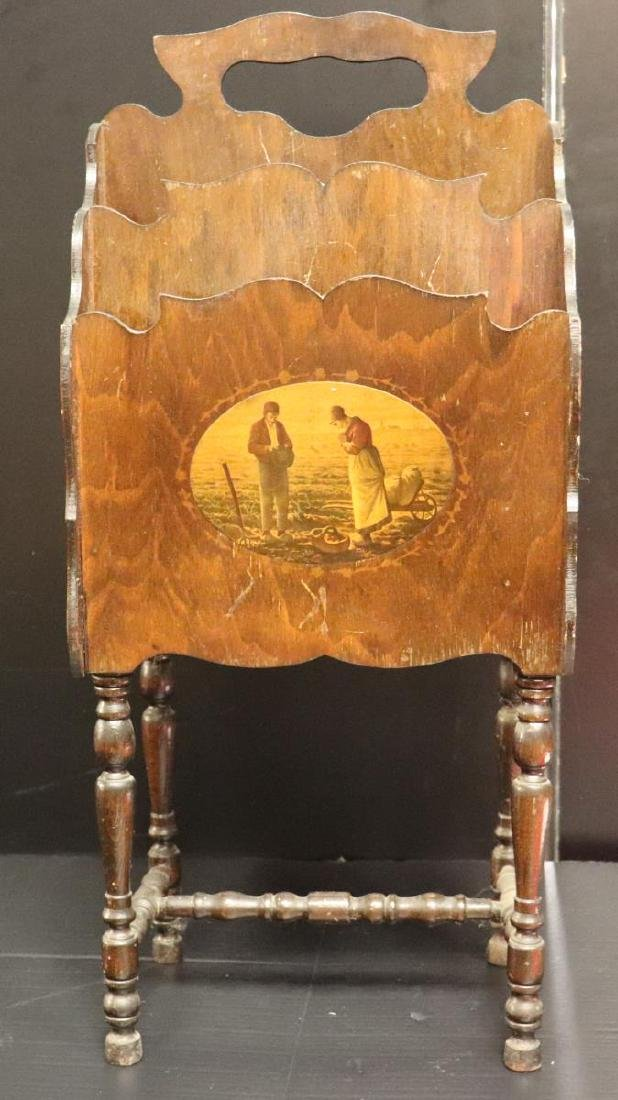 Antique Wooden Magazine Rack with Painted Scene