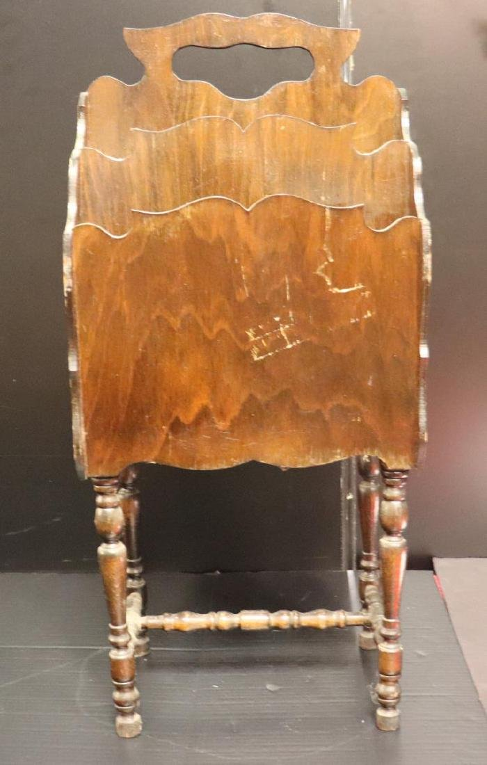Antique Wooden Magazine Rack with Painted Scene - 4