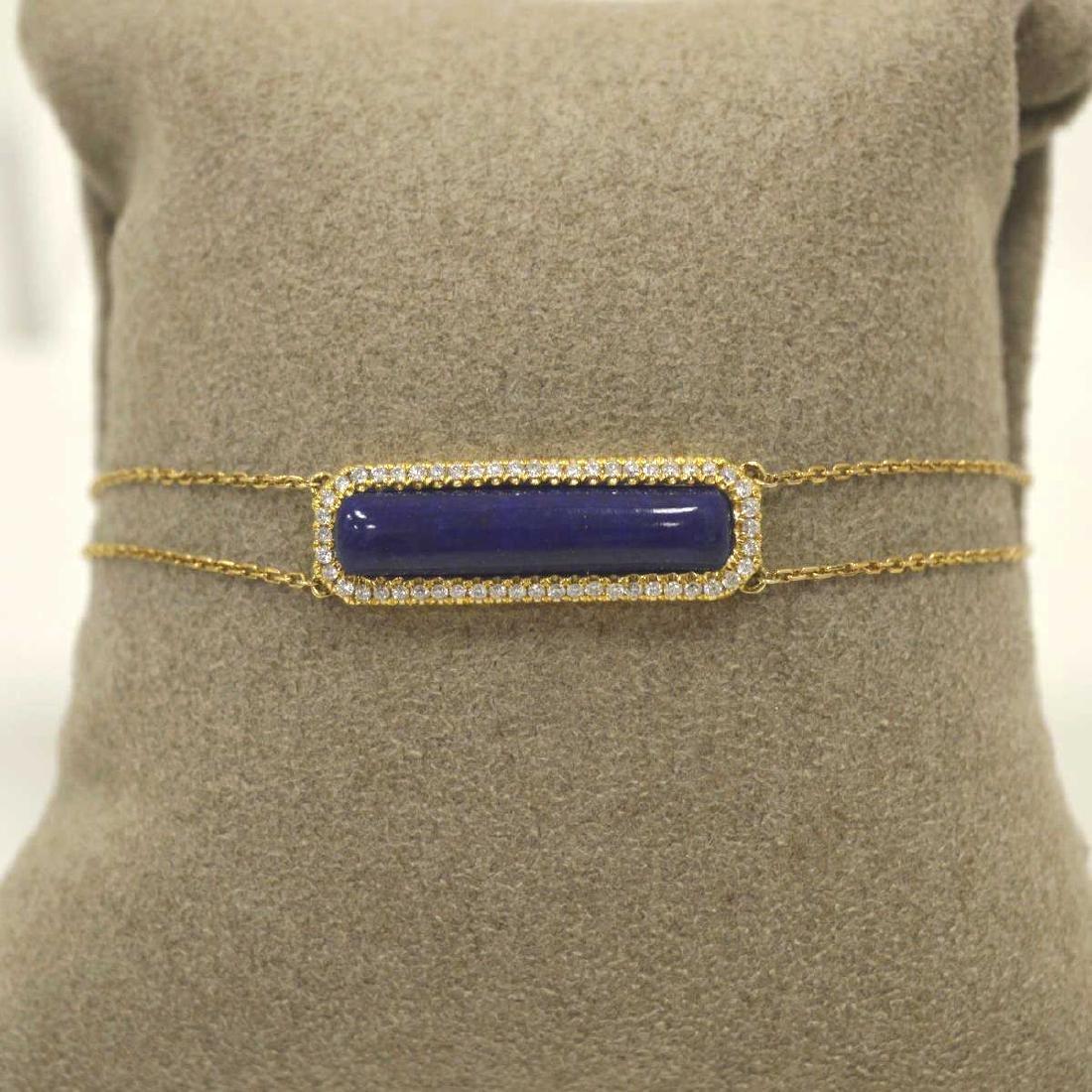 18kt yellow gold lapis and diamond bracelet