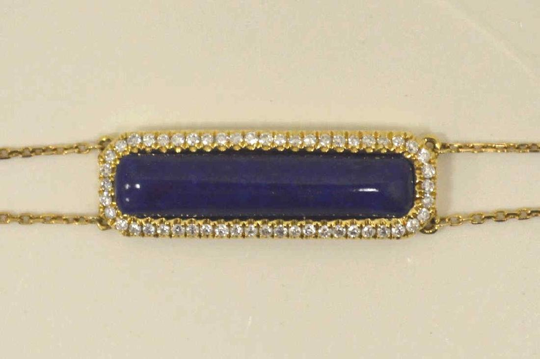 18kt yellow gold lapis and diamond bracelet - 2