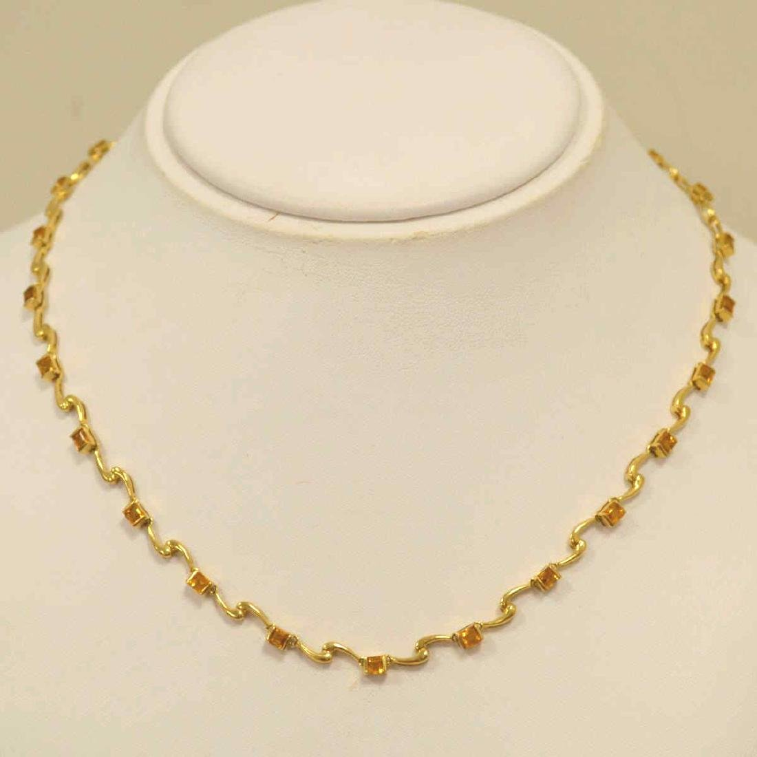 18kt yellow gold citrine necklace