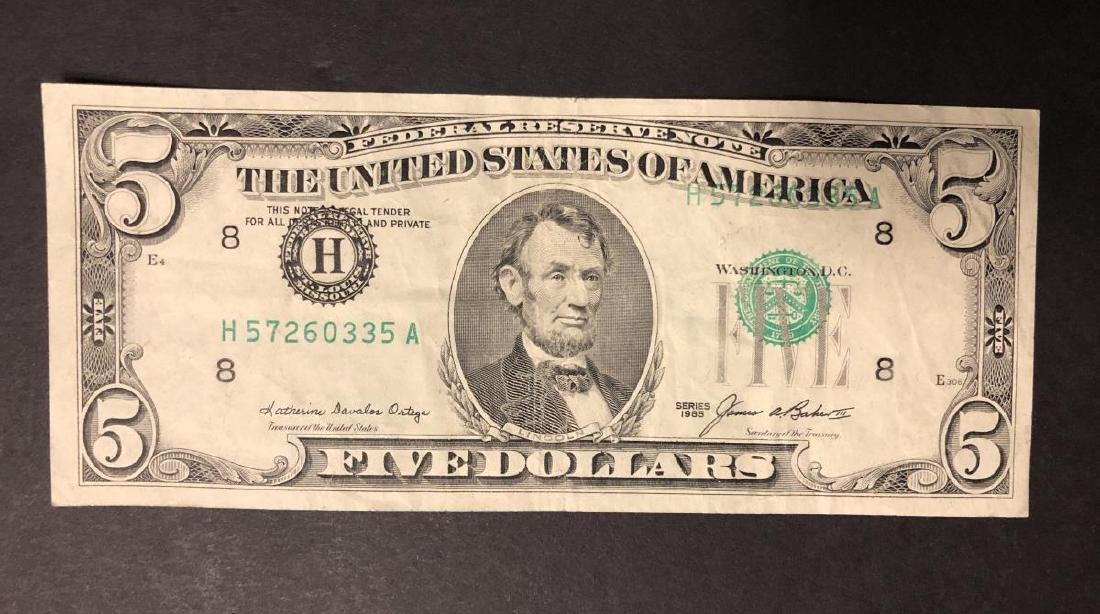 1985 $5 FRN Note Faulty Alignment Error - 2