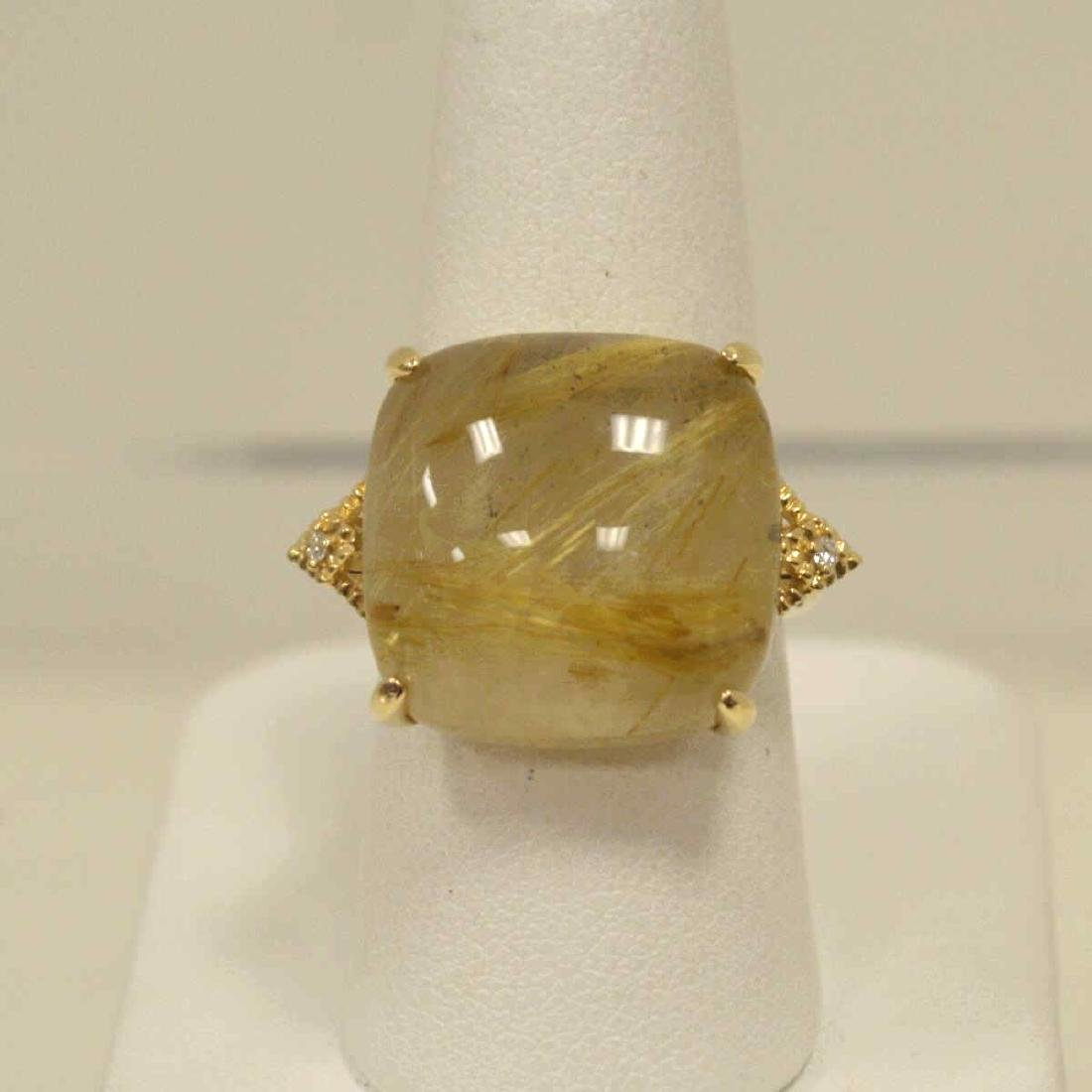 14kt yellow gold rutilated quartz and diamond ring