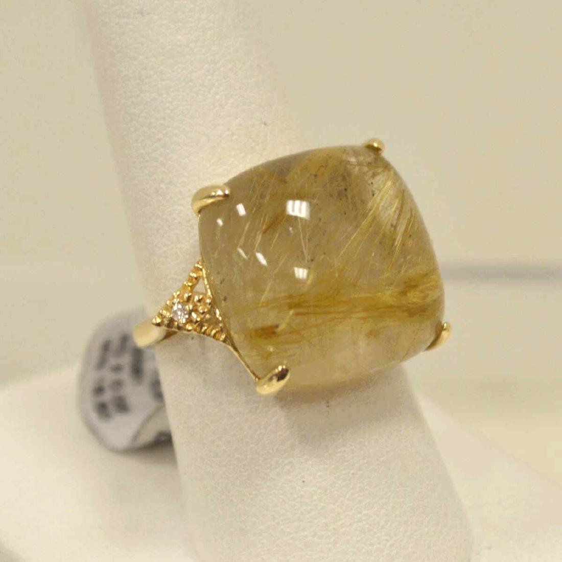 14kt yellow gold rutilated quartz and diamond ring - 2