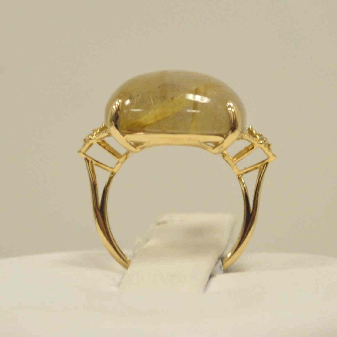 14kt yellow gold rutilated quartz and diamond ring - 3