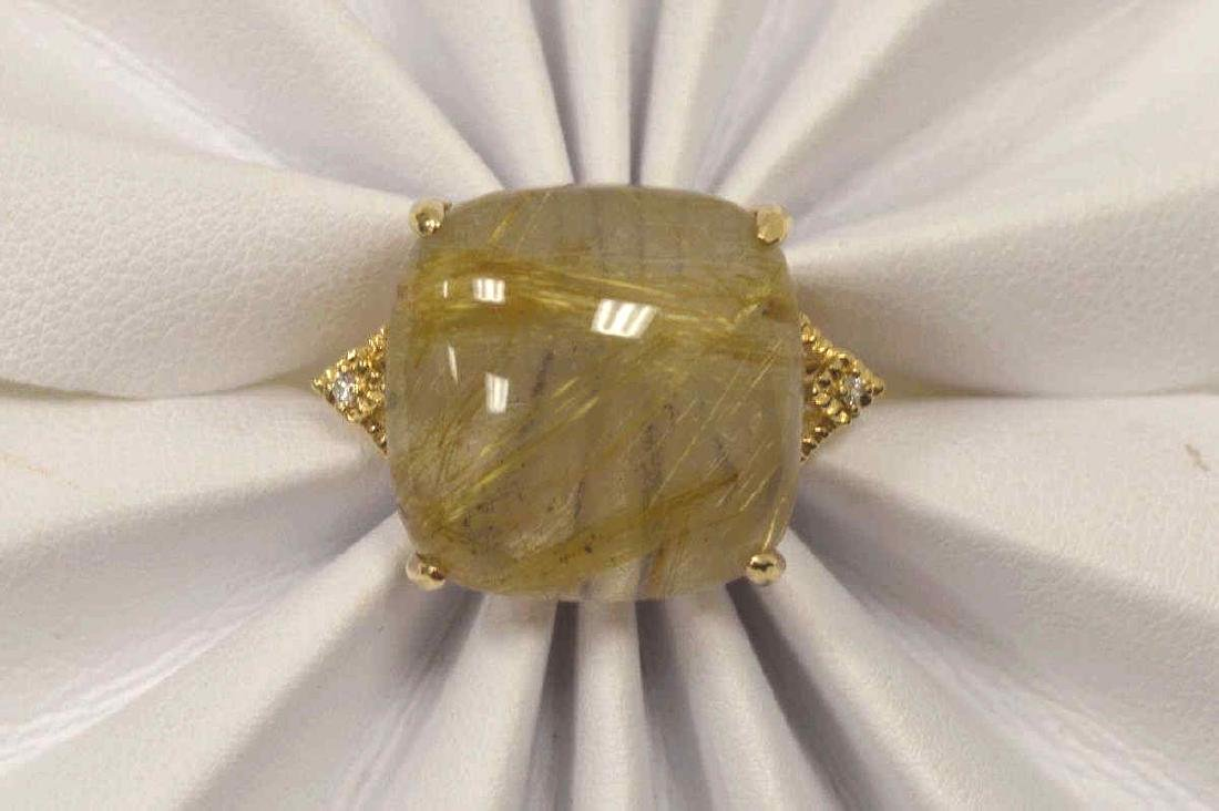 14kt yellow gold rutilated quartz and diamond ring - 5
