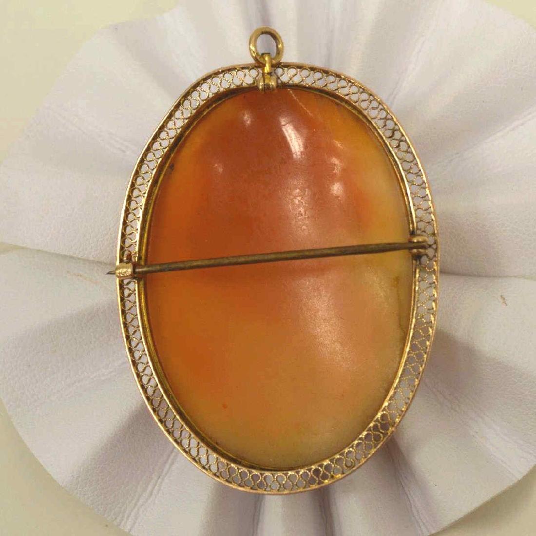 10kt yellow gold cameo pin - 2