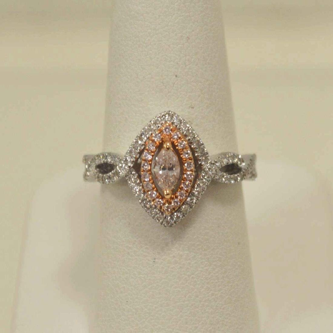 18kt two tone pink diamond ring