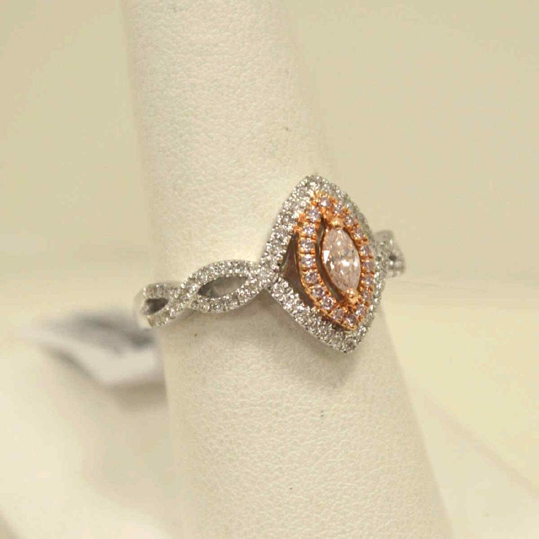 18kt two tone pink diamond ring - 2