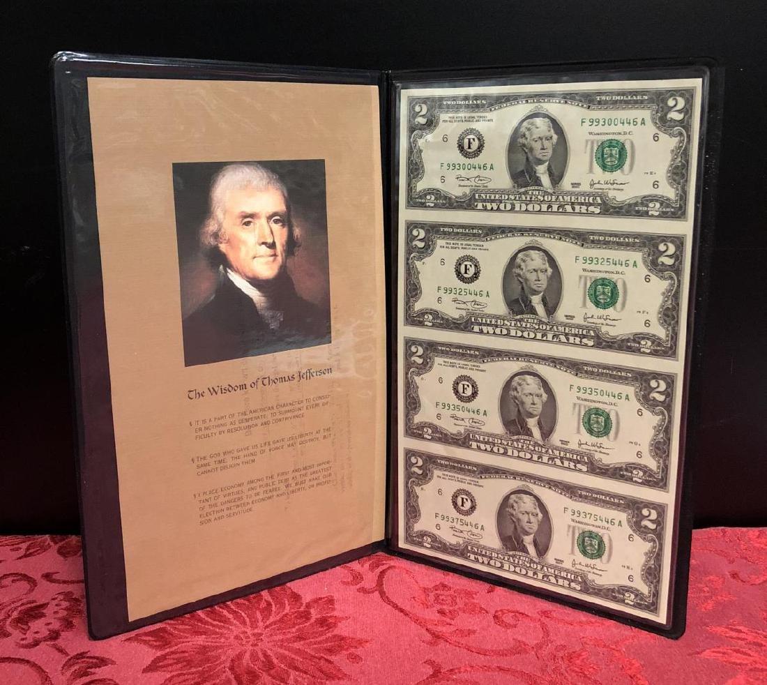 2003 $2 FRN Uncut Sheet of 4 in Folio