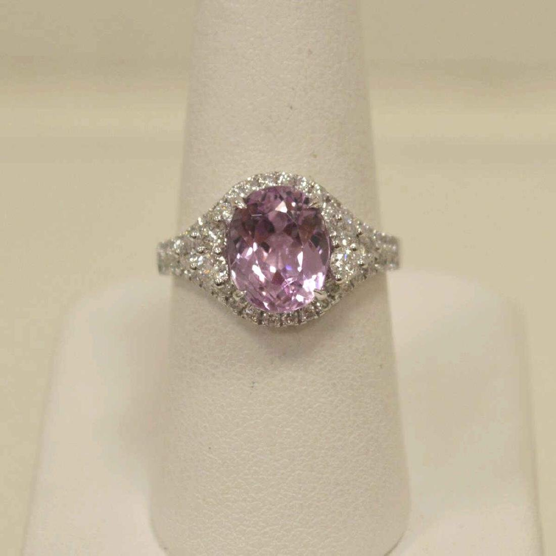 14kt white gold kunzite and diamond ring