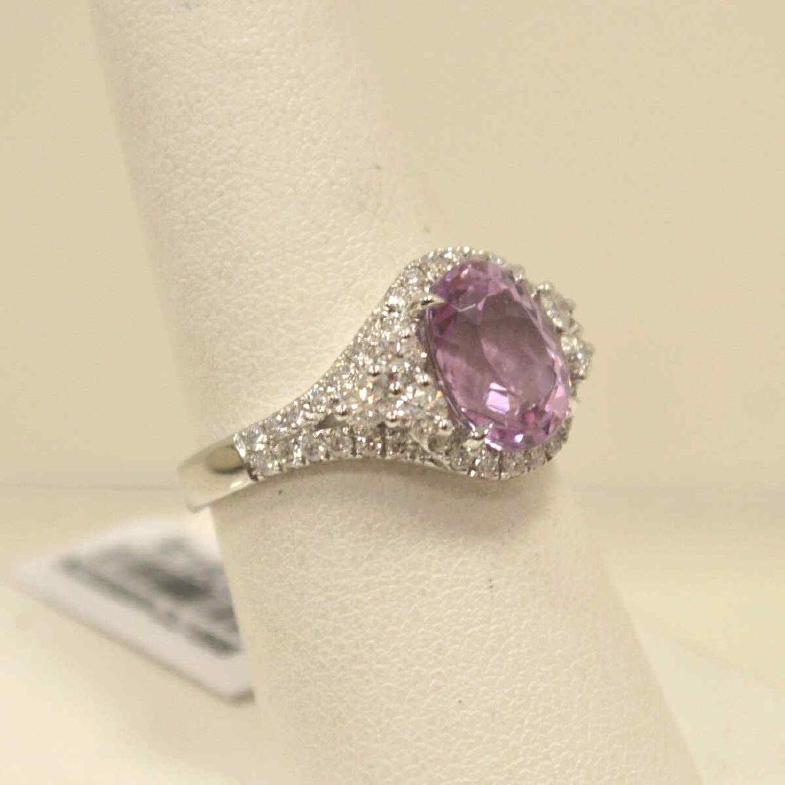 14kt white gold kunzite and diamond ring - 2