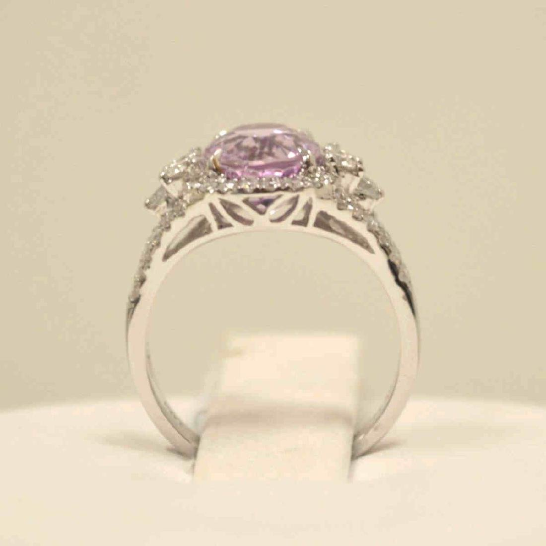 14kt white gold kunzite and diamond ring - 3