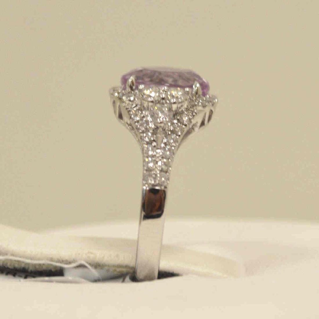 14kt white gold kunzite and diamond ring - 4