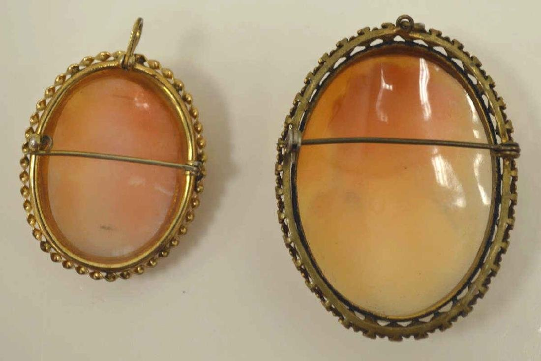 Pair of gold plated cameo pins - 2