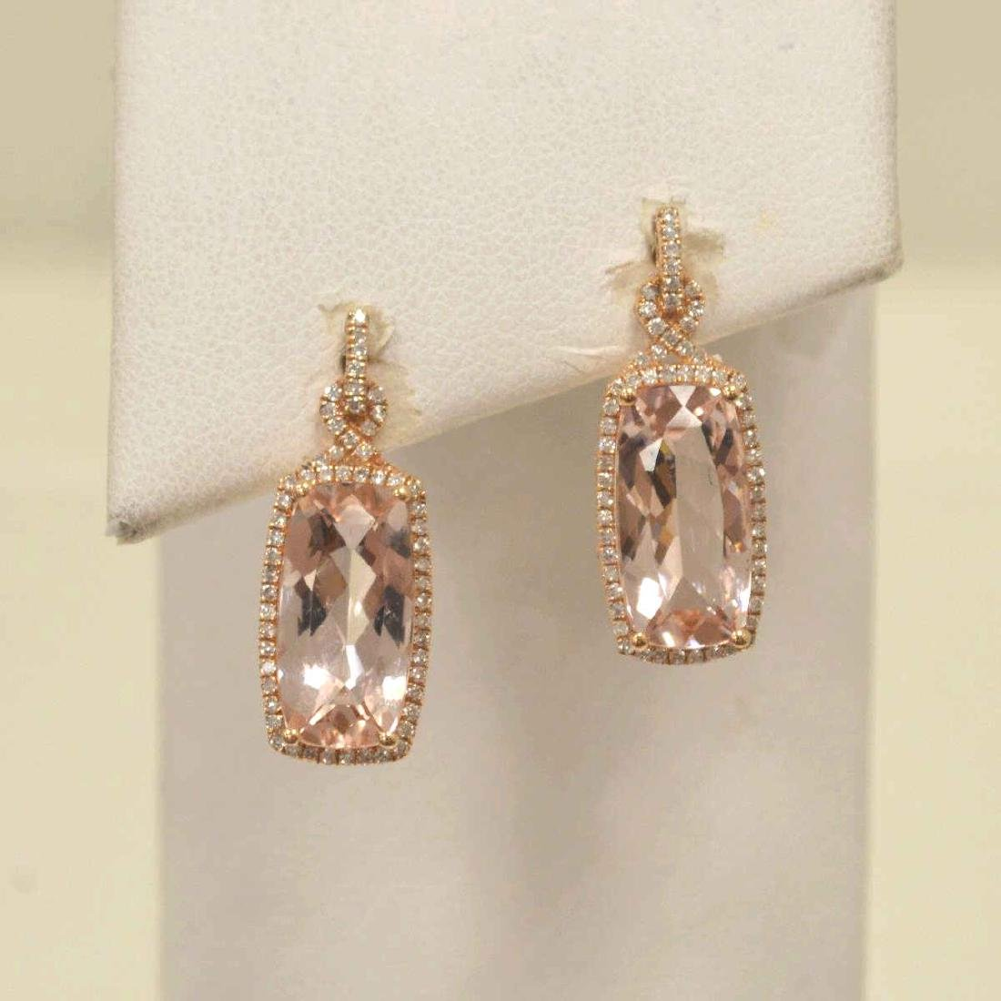 14kt rose gold morganite and diamond earrings