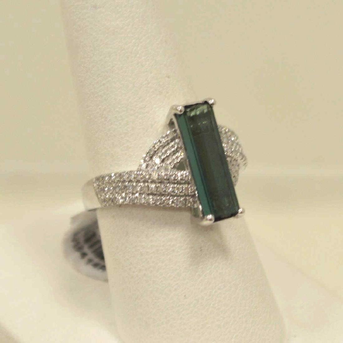14kt white gold tourmaline and diamond ring - 2