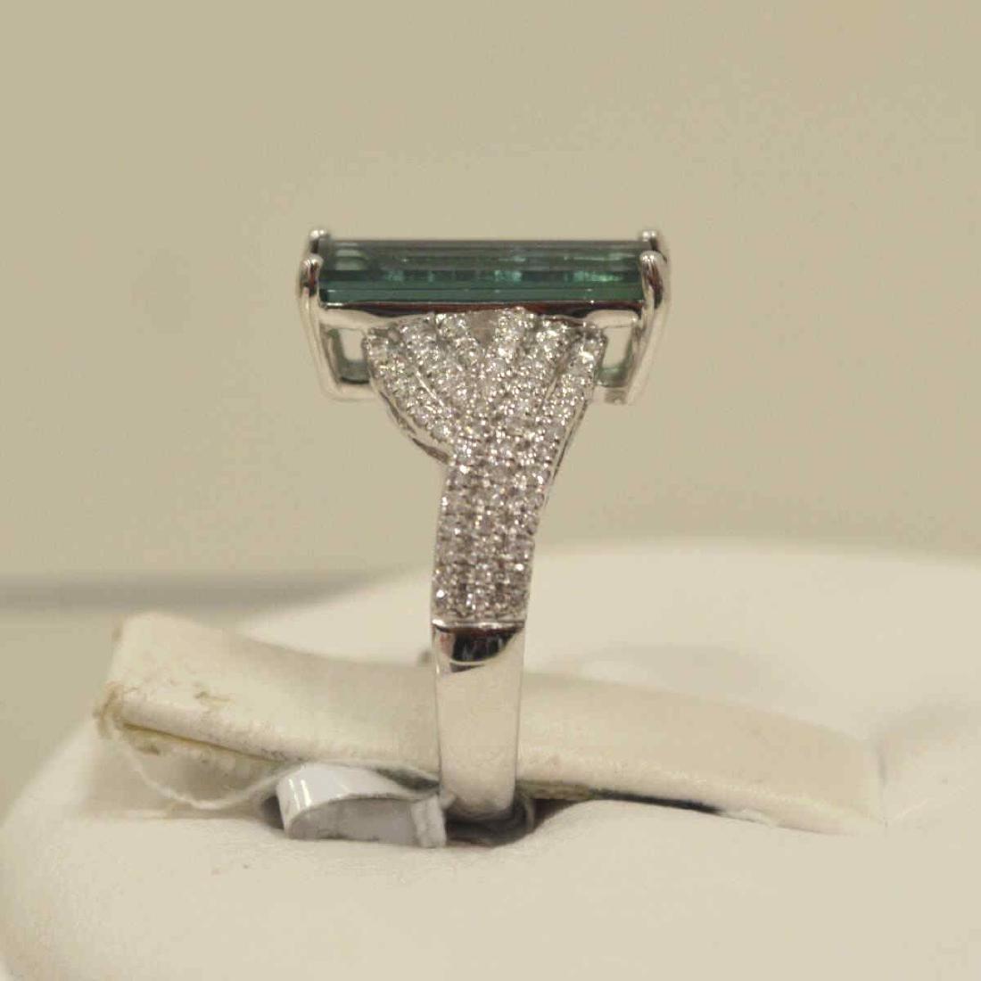 14kt white gold tourmaline and diamond ring - 4