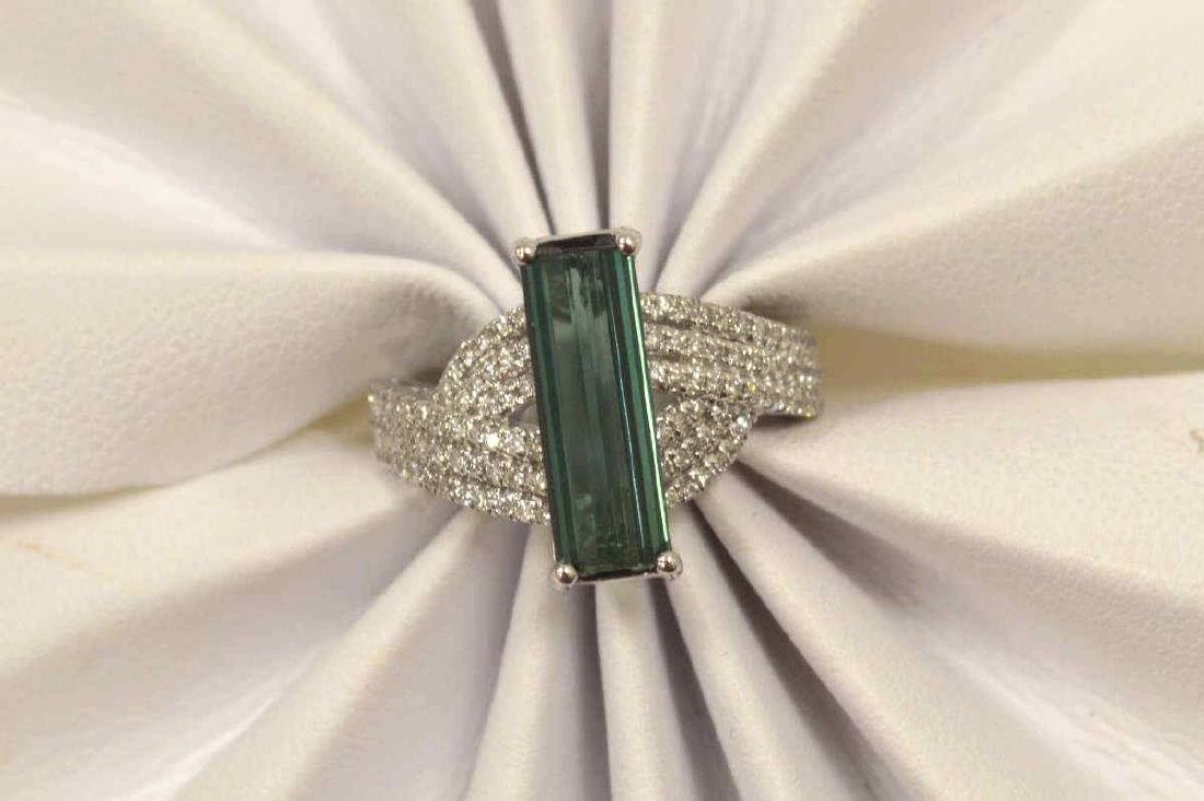 14kt white gold tourmaline and diamond ring - 5
