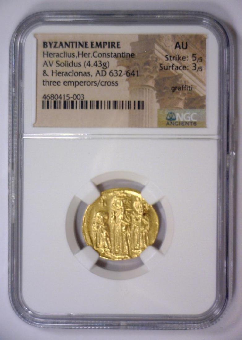 Heraclius BYZANTINE 632 AD Gold AV Solidus NGC AU