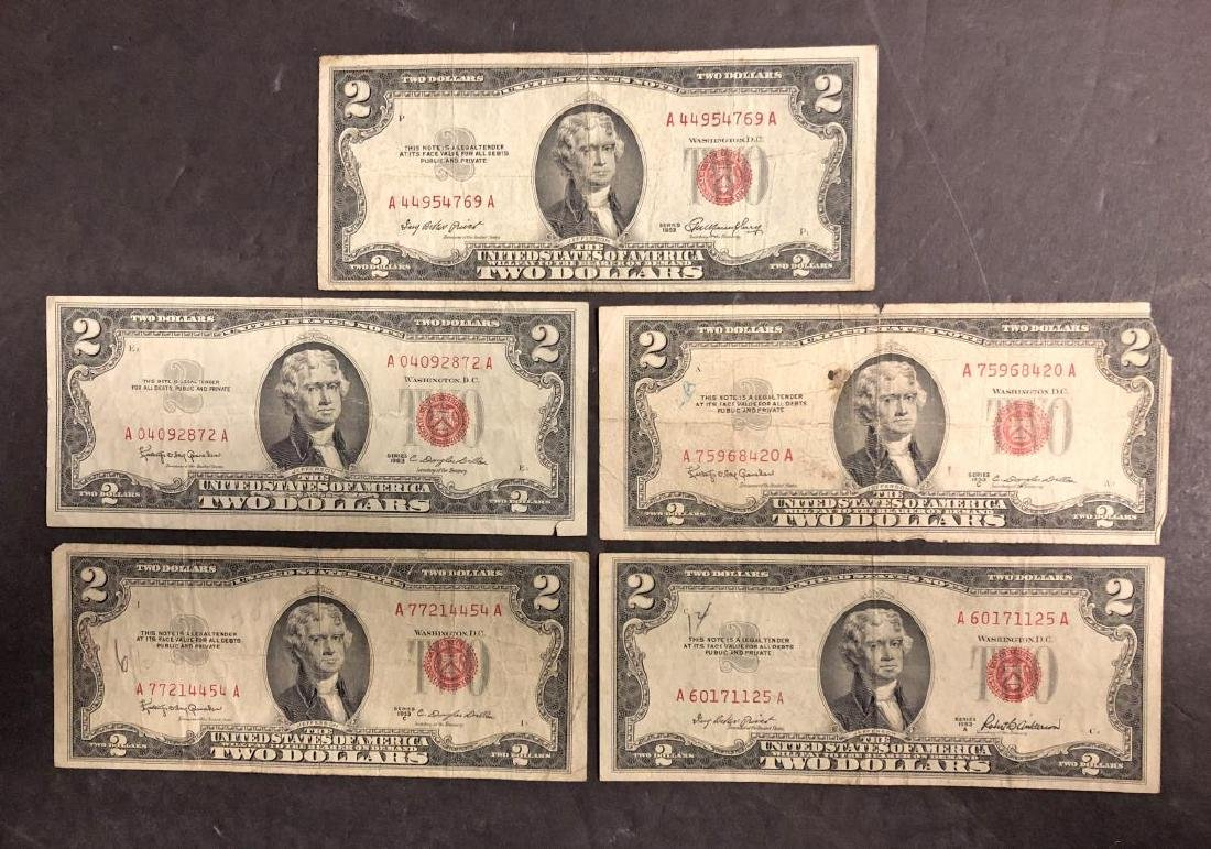 Lot of 5 Red Seal $2 US Notes 1953 & 1963