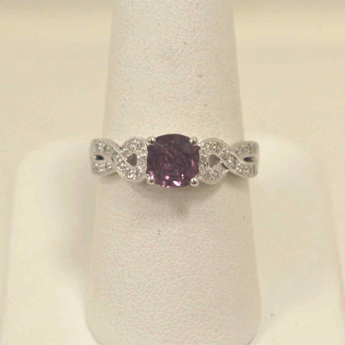 18kt white pink sapphire and diamond ring