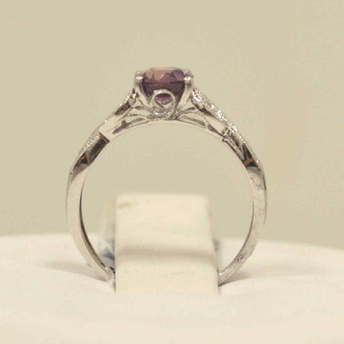 18kt white pink sapphire and diamond ring - 3