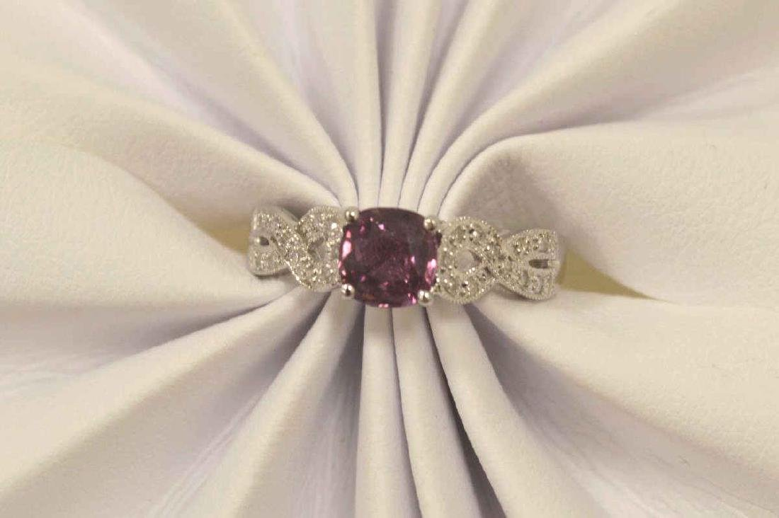 18kt white pink sapphire and diamond ring - 5
