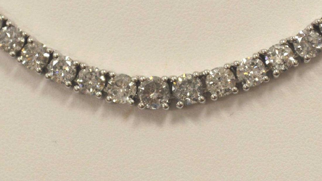 14kt white gold diamond tennis necklace - 2