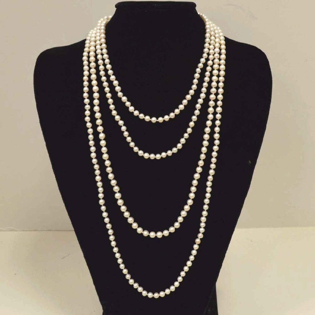 "96"" continuous strand of freshwater pearls"