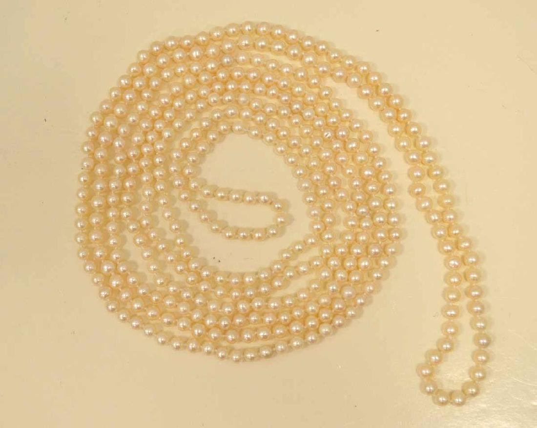 "96"" continuous strand of freshwater pearls - 4"