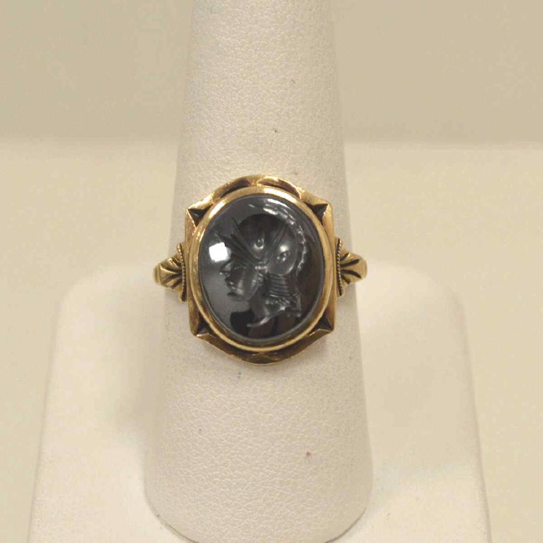 10kt yellow gold hematite intaglio ring