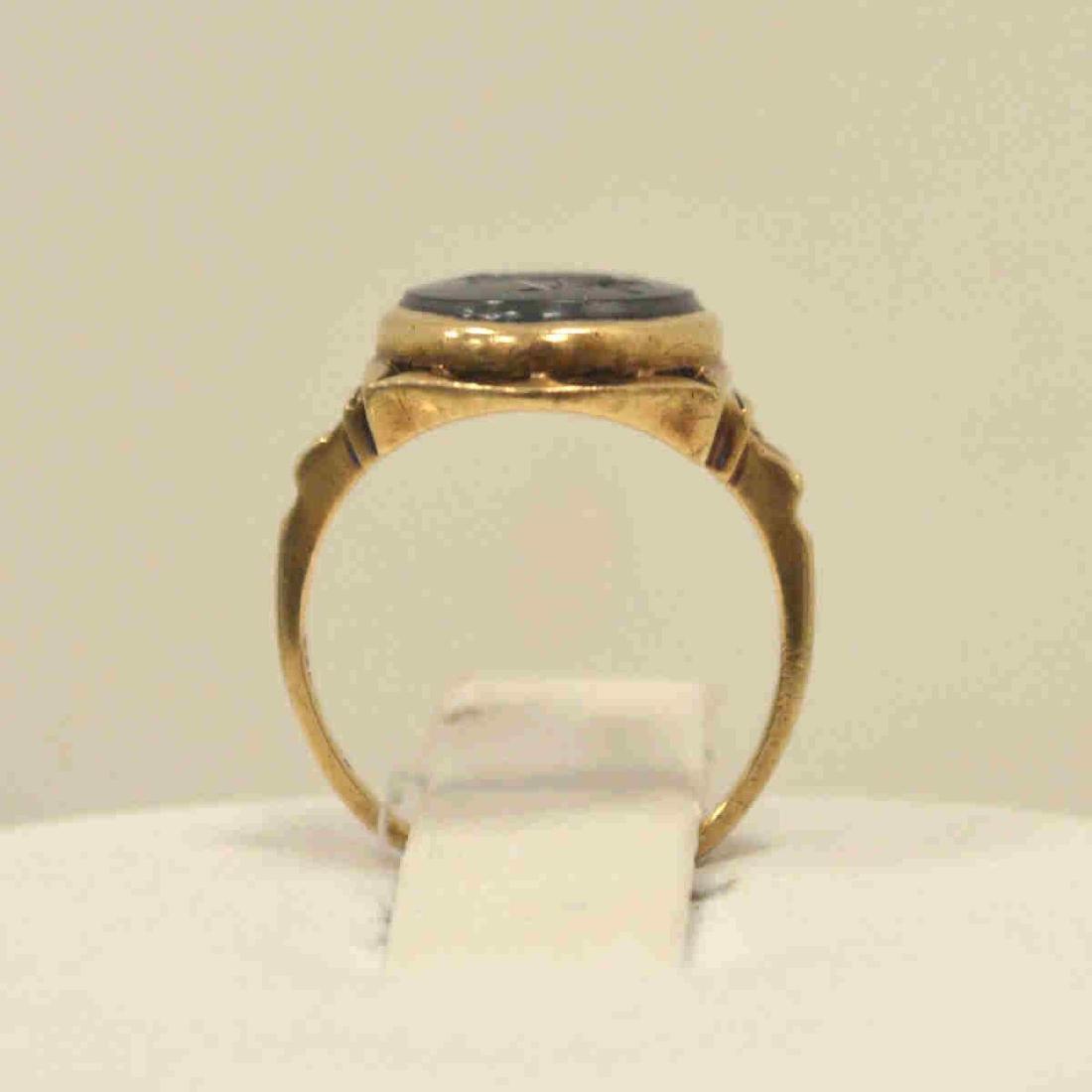 10kt yellow gold hematite intaglio ring - 3