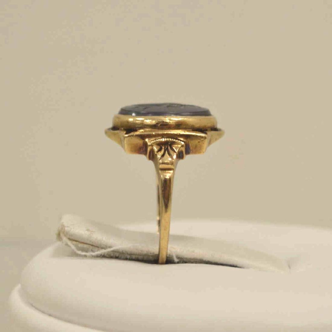 10kt yellow gold hematite intaglio ring - 4