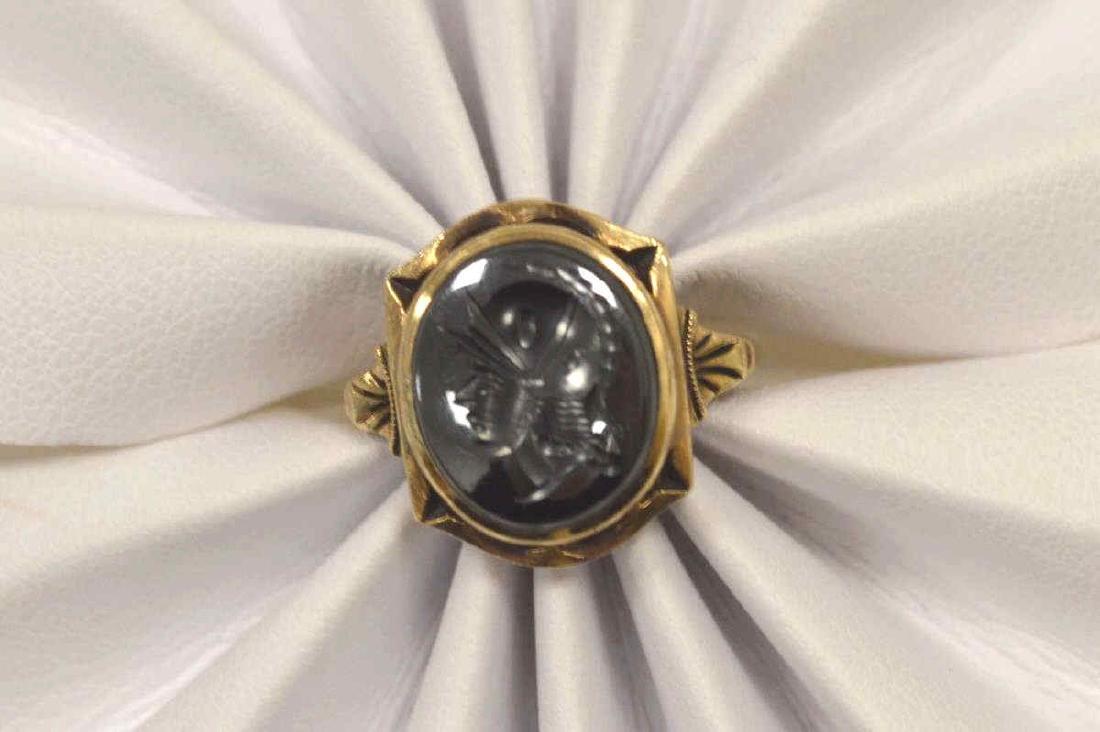 10kt yellow gold hematite intaglio ring - 5