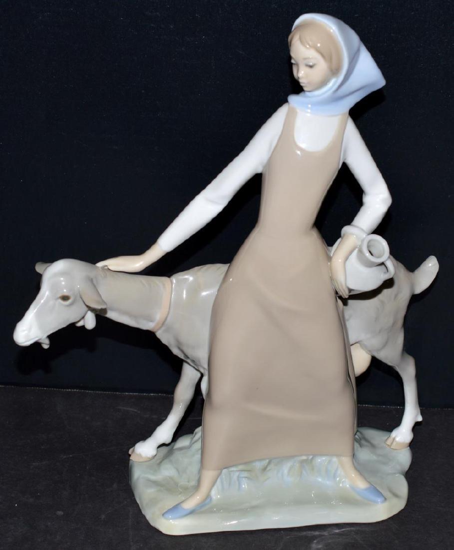 Lladro Figurine #4590 Girl with Pitcher/Jug & Goat