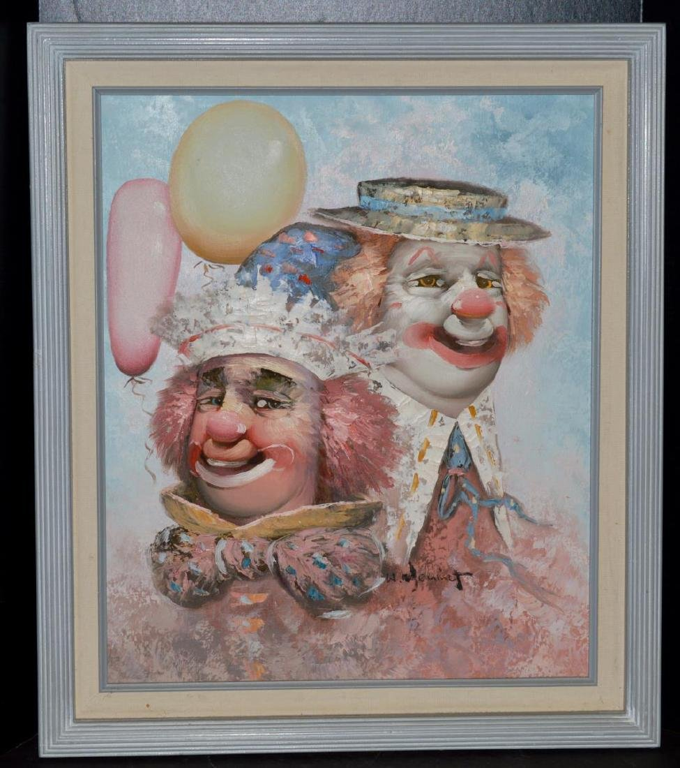 Signed W. Moninet Oil on Canvas Clown Painting