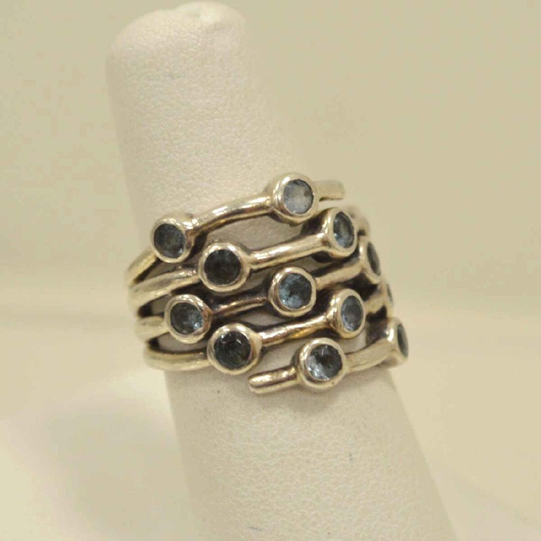 Sterling Silver blue topaz ring - 2