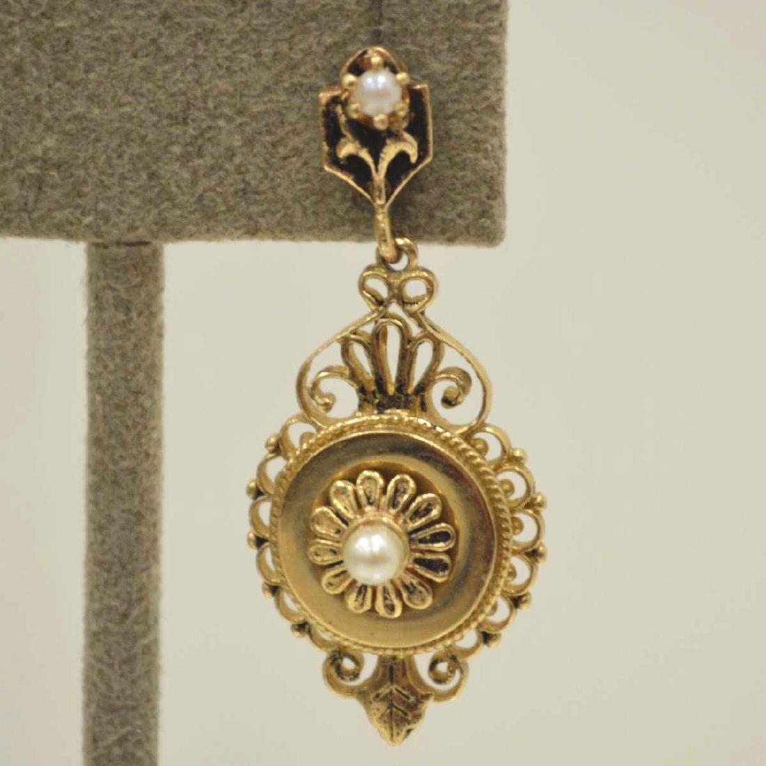 Vintage 14kt yellow gold earrings - 2